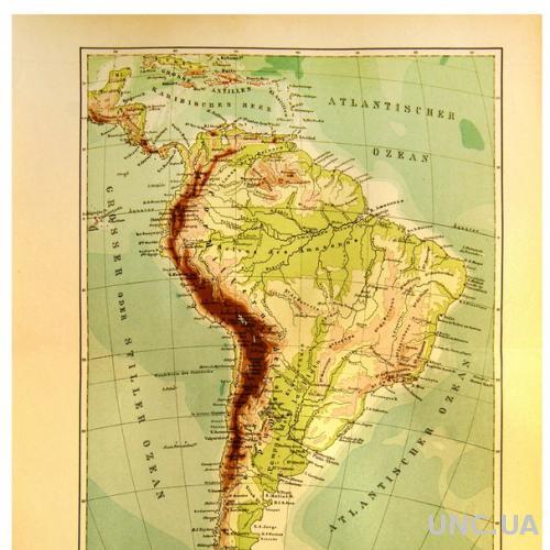 Карта Южная Америка 1893-1901 гг. ОРИГИНАЛ