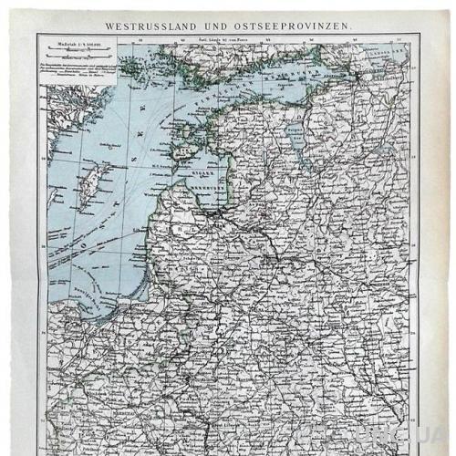 Карта Зап. Россия и Прибалтийские провинции 1892-95 Германия Fv8.8