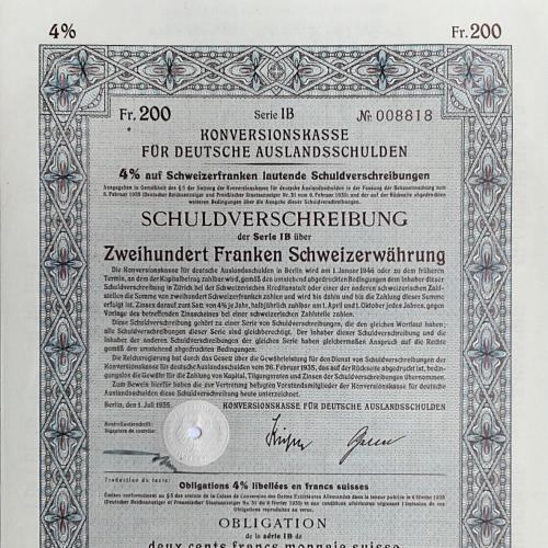 Облигация Konversionskasse Deutsche Auslandsschulden 1935 Швейцария Mt 18