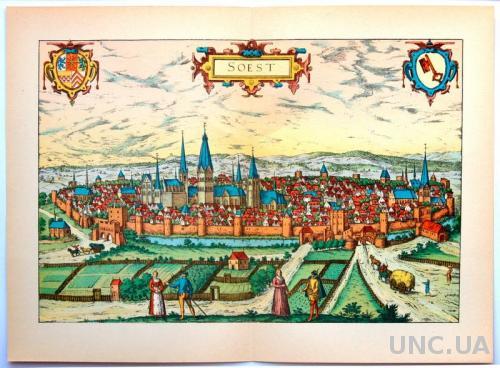 План карта города Зост 1570 г. копия 1938 года Лейпциг Fv8.9