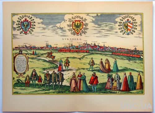 План карта Нюрнберга 1570 г. копия 1938 года Лейпциг Fv8.9