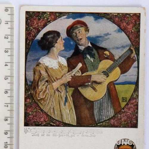 Раритет Открытка карточка Песня под гитару знак DSchV 1910-е Австрия aP