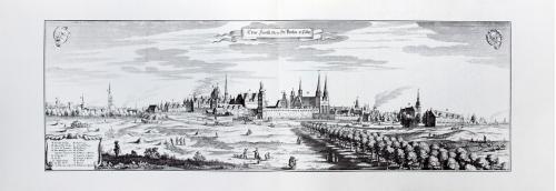 Старинная гравюра на бумаге верже Вид на Берлин, 1652, M. Merian