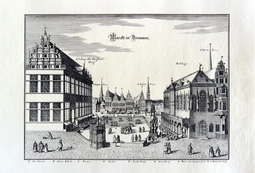 Старинная гравюра на бумаге верже Вид на Бремен, 1653, M. Merian