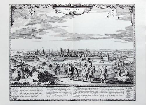 Старинная гравюра на бумаге верже Вид на Данциг, XVII век, Frederick de Wit