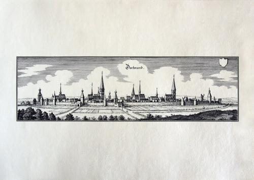 Старинная гравюра на бумаге верже Вид на Дортмунд, 1647, M. Merian