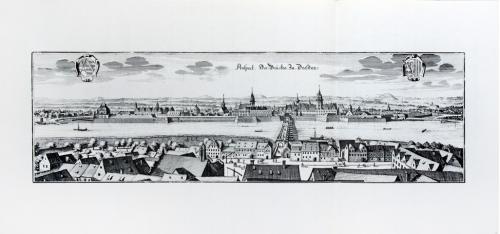 Старинная гравюра на бумаге верже Вид на Дрезден, 1650, M. Merian