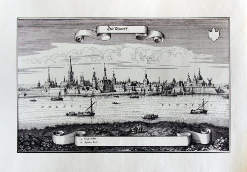 Старинная гравюра на бумаге верже Вид на Дюссельдорф, 1647, M. Merian
