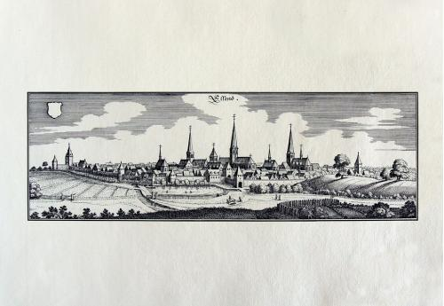 Старинная гравюра на бумаге верже Вид на Эссен, 1647, M. Merian