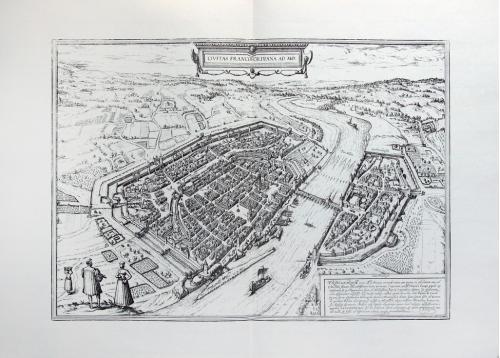 Старинная гравюра на бумаге верже Вид на Франкфурт-на-Майне, 1574, Braun-Hogenberg