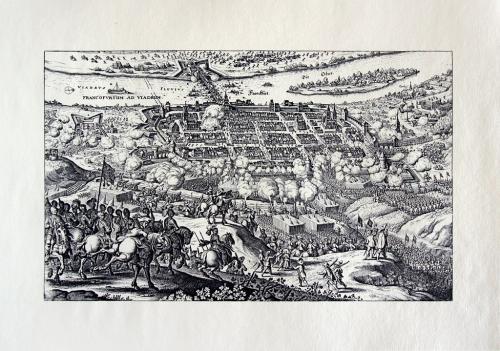 Старинная гравюра на бумаге верже Вид на Франкфурт-на-Одере, 1633, M. Merian