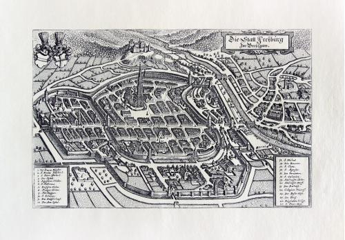 Старинная гравюра на бумаге верже Вид на Фрайбург, 1644, M. Merian