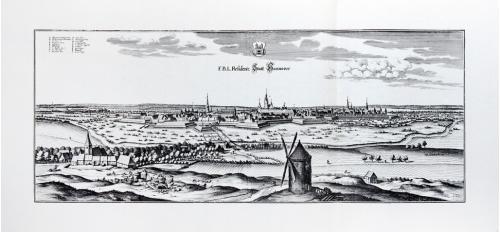 Старинная гравюра на бумаге верже Вид на Ганновер, 1654, M. Merian