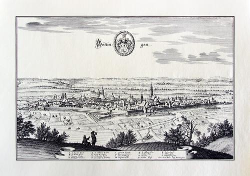 Старинная гравюра на бумаге верже Вид на Гёттинген, 1654, M. Merian