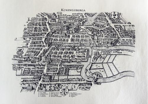 Старинная гравюра на бумаге верже Вид на Кёнигсберг, 1652, M. Merian