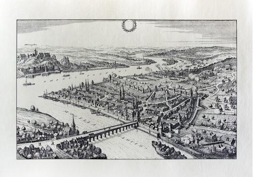 Старинная гравюра на бумаге верже Вид на Кобленц, 1646, M. Merian