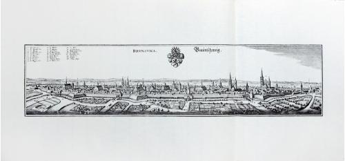 Старинная гравюра на бумаге верже Вид на Брауншвейг, 1654, M. Merian