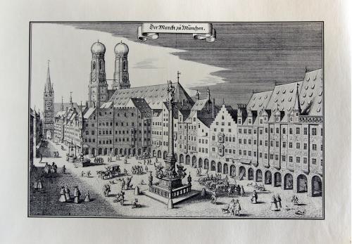 Старинная гравюра на бумаге верже Вид на Мюнхен, 1633, M. Merian