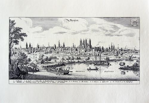 Старинная гравюра на бумаге верже Вид на Шпайер, 1645, M. Merian