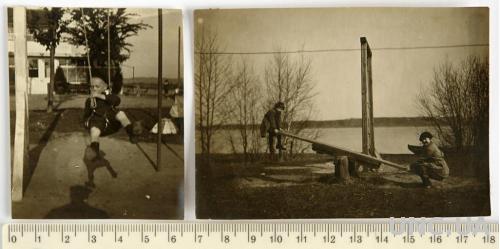 Старинное фото На качелях, 2 шт, 1908 г. Германия