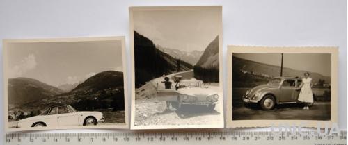 Старые фото На авто в горы 3 шт 1950-60-е Германия