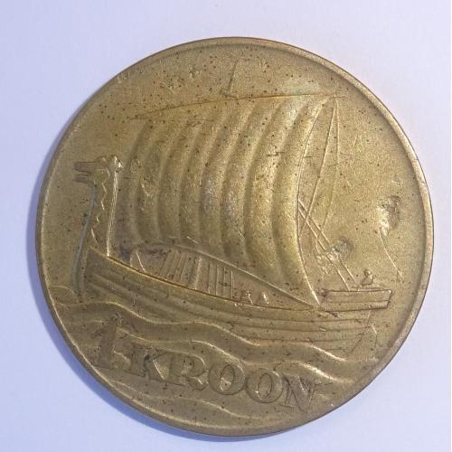 1 КРОНА, ЭСТОНИЯ, 1934Г, ЛАТУНЬ,