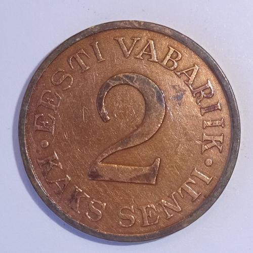 2 САНТИ, ЭСТОНИЯ, 1934Г, МЕДЬ.