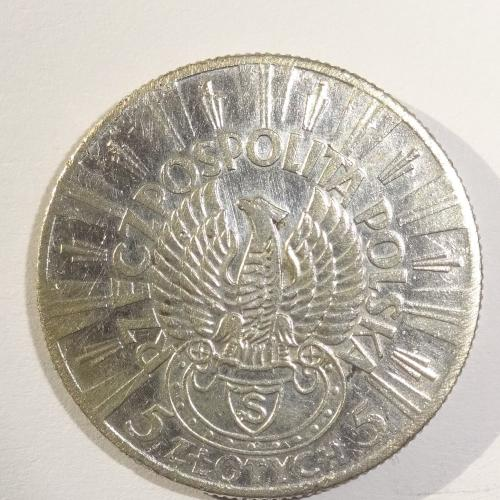 5 ЗЛОТ. 1934Г, ПОЛЬША, СЕРЕБРО