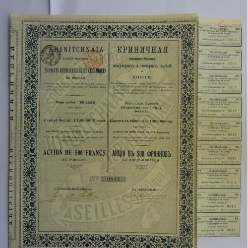 Криничная, АКЦИЯ,    Огнеупорных и гончарных Изделий,  500 франк, 1897г,
