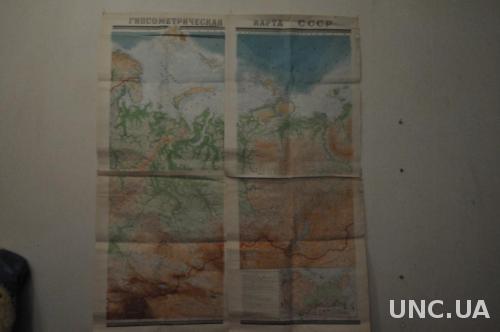 КАРТА 106*130 СМ. ГИПСОМЕТРИЧЕСКАЯ СССР ИЗ 4 ЛИСТОВ