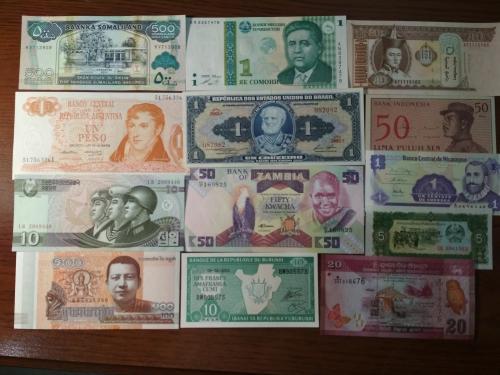 Банкноты всего мира Европа,Азия,Америка,Африка (101 банкнота) UNC