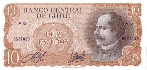 Чили 20 эскудо 1973 г UNC