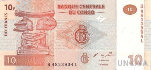 Конго 10 франков 2003 UNC