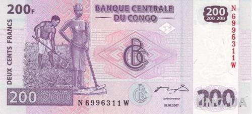 Конго 200 франков 2000 UNC