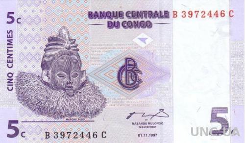 Конго 5 сантим 1997 UNC