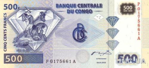 Конго 500 франков 2002 UNC