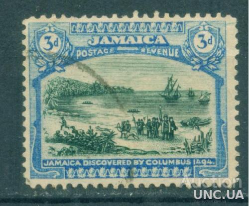 Ямайка - Колонии - Открытие Ямайки Колумбом в 1494 - Корабли - Гавань - Михель 81 - 3 Евро - гашеная