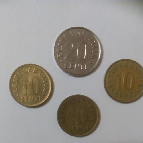 Монеты Эстонии: 20 сентов 2003 г., 10 сентов 1991, 1998, 2006 г.