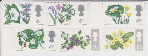 Марки Великобритании 6 шт. Цветы