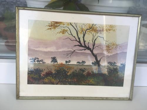 Картины акварелью на картоне Горы