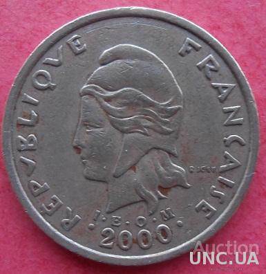 Новая Каледония 100 франков 2000 год.