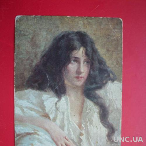 Открытка старинная Портрет Девушки