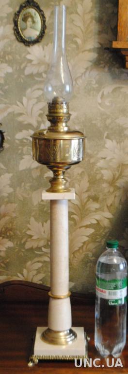 Лампа гасова велика бронза нат камінь. Керосиновая