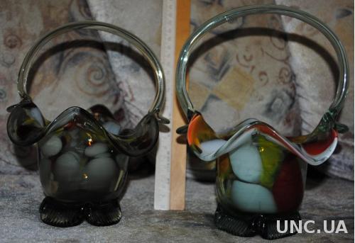 СРСР скло, ваза скляна . Стеклянные корзинки, 2шт. (на одной не заметный микро скол, см фото)