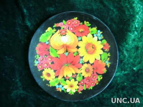 Блюдо Цветы  дерево ручн роспись лакировка