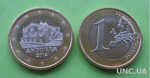 Андорра 1 евро 2014 г.  UNC.