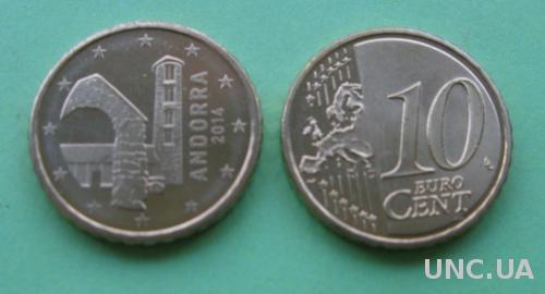 Андорра 10 евро центов 2014 г.  UNC.