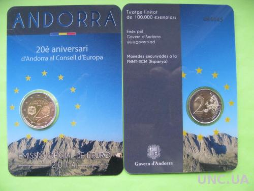 Андорра 2 евро 2014 г. 20-летие вступления Андорры в Совет Европы