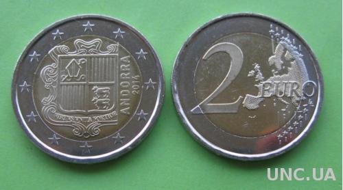 Андорра 2 евро 2014 г.  UNC.