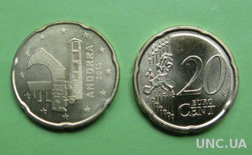 Андорра 20 евро центов 2014 г.  UNC.